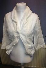 KOKOMARINA Linen Croped Single Breasted Jacket White Size XL SALEs EE 12