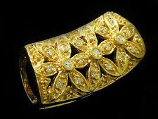 P026- Genuine REAL 18ct 18K SOLID GOLD NATURAL DIAMOND Pendant Blossoms Slider