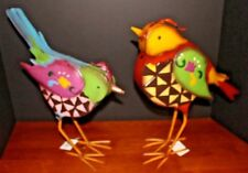 """2 New W Tags Bird Figurines Painted Steel 13X12"""" Whimsical Gift Home Decorating"""