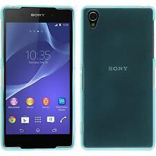 Sony Xperia Z2 TPU funda cover transparente turquesa protector de pantalla