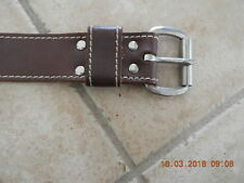 VINTAGE Belt leather brown jeans silver buckle  80's 75cm waist 40cm as new