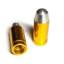 2 Gold Billet Bullet Valve Stem Caps for Motorcycle & Car Wheel Air Tire Rims