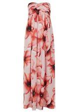 BNWT MONSOON LETTIE NUDE POPPY PRINT BANDEAU MAXI DRESS WITH STRAPS SIZE 12 £149