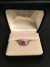 Peora 925 Sterling Silver Created Pink Sapphire & Clear CZ Ring Size 6