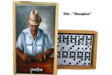 "Gift ideas !! Oil Painting ""Blanquizar"" on Top Professional Domino double Nine"