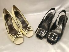 Franco Sarto Shoes Womens Size US 5.5 Black and Cream Peep Toe Shoes Lot of two