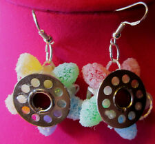 Unique Sewing Machine Bobbin Candy 925 EARRINGS CHRISTMAS Handmade nora winn
