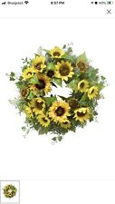 21� Large Sunflower Wreath for Front Door Silk Artificial Yellow 21� Sunflower