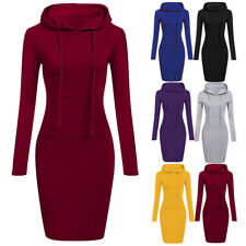 Women's Long Sleeve Long Hooded Sweatershirt Slim Fit Bodycon Party Dress 998