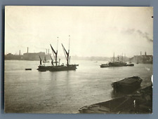 UK, Scene in a Harbor  Vintage silver print.  Tirage argentique  8x11  Cir