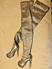 christian louboutin thigh high silver boots over the knee 39 gazolina