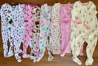 Carters  Gap Baby Girl Lot Of 9 Footed Zip Cotton Fleece Pajamas 9 12 Month