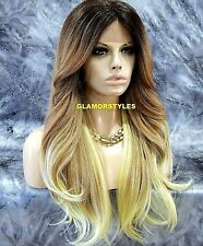 Free Part Human Hair Blend Lace Front Full Wig Long Layered Ombre Brown Blonde