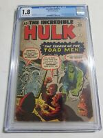 THE INCREDIBLE HULK # 2 AÑO 1962 CGC .1.8 COMIC DIFICIL Y EN PERFECTO ESTADO