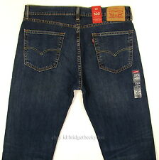 Levis 505 Jeans New Size 36 x 34 DARK STONE BLUE W/FADE Mens Straight Zip Levi's