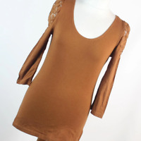 H&M Womens Size M Brown Plain Cotton Blend Basic Tee