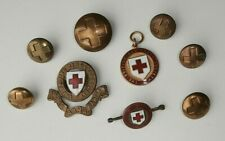 More details for vintage red cross items including enamel cap badge medal tunic buttons & brooch