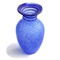 """Cobalt Blue And Clear Dappled Hand Blown Art Glass Vase 8"""" Tall"""