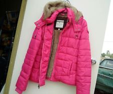Abercrombie & Fitch Hollister Womens Hot PINK  Hooded Winter Jacket Sz M Ex