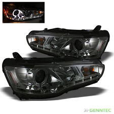 For HID Model 08-14 Lancer/EVO X 10 DRL LED Halo Smoke Pro Headlights Lamp