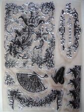 Nuevo Anna Griffin Claro Acrílico Flores Mariposas 8 conjunto de sello