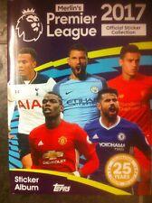 MERLIN TOPPS Premier League 2017 COMPLETO Loose Adesivo Set + ALBUM VUOTO/NUOVO