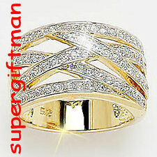 X050 - BAGUE OR DOUBLE AM. / ring goud  DIAMANTS CZ T52