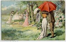 Innamorati Ombrello Rosso Donnine Belle Epoque Early Chromo Litho PC Circa 1900