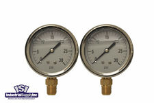 "2-Pk 0-30 psi 2.5"" Hydraulic-Air-Water 1/4"" Lower Mount Pressure Gauge"