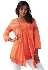 NWT Womens Crochet Trim Cardigan Sweater Plus Size 1X 22W X 24W Roamans