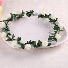 Bridal Rose Flower Crown Headband Wedding Prom Beach Floral Garland Wreath New