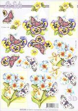 Feuille 3D à découper A4 Fleurs Papillon 8215.196 Decoupage Flower Butterfly