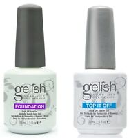 Gelish Harmony Top and Base Coat  Gelish Top it off and Foundation