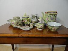 Vintage Chinese Famille Jaune Tea Set and Bowls and Spools