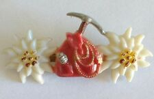 PIN VINTAGE 40's Broche AUSTRIA CELLULOID/ EARLY PLASTIC EDELWEISS FLOWER