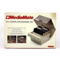 "🔴 MediaMate 5.25"" Floppy Disk Data Storage Case W/ Dividers 50 Vintage #14521"