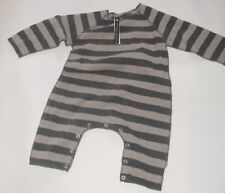 ALBUM DI FAMIGLIA Baby One Piece Striped Suit Gray/Beige Italy 12-18m NEW w/Tags