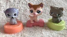Lot of 3 Littlest Pet Shop McDonald's Toys  2006  2010 Cake Toppers LPS! EUC