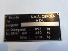 Plaque signalétique Citroen Bouclier Id-plate AZ-L 2 CV canard plaques tu constructeur s25