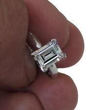 1.00 CT Emerald Cut Solitaire Engagement Wedding Ring in Real 14 K White Gold