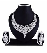 Indian Wedding Bridal Silver Rodium P Faux Diamond Necklace Earrings Jewelry set