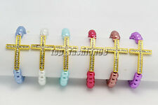 Wholesale lots 5ps Cross Glass Pearl Rhinestone Gold Tone Stretch Bracelets FREE
