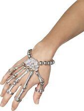 Pulsera de mano de esqueleto, Halloween Vestido de fantasía, Plata