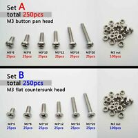 250pc Assortment Kit Set 304 Stainless Steel Phillips Cross Screw Bolt Nut M2 M3