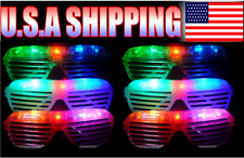 12 Light Up Shutter Glasses LED Shades Sun Glasses Flashing Rock Wedding Party