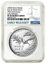 2020 P End of World War 2 II 75th Anniversary 1oz Silver Medal Eagle NGC PF70