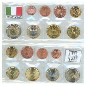 SERIE EURO ITALIA 2002 FDC/UNC IN BUSTINE 8 VALORI