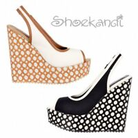 WOMENS DOLCIS OPEN TOE SLINGBACK DECORATED WEDGE SUMMER SANDAL BLACK WHITE SIZE