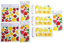 Set of 8 Summer Time Fruit & Lemonade Wall Decor - 6 Gel Clings, 2 Wall Decals