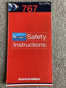 American Airlines Boeing 767 Series Safety Card 07/03 Revision